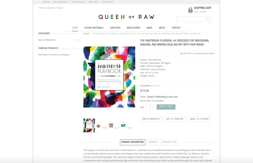 Queen of Raw e-commerce site